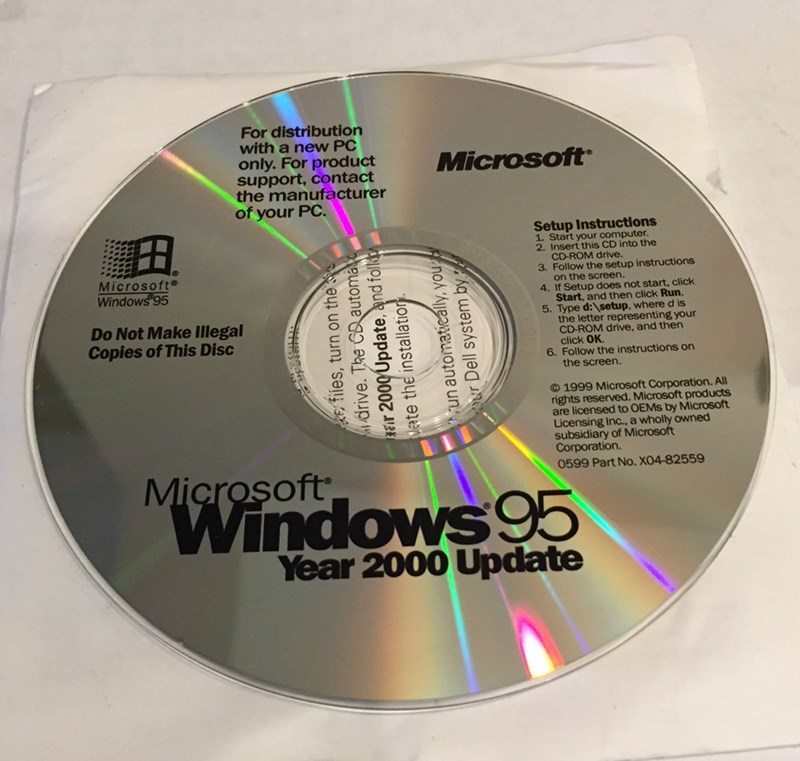 CD - For distribution with a new PC only. For product support, contact the manufacturer of your PC. Microsoft Setup Instructions 1. Start your computer. 2. Insert this CD into the CD-ROM drive. 3. Follow the setup instructions on the screen. 4. If Setup does not start, click Start, and then click Run. 5. Type d:\setup, where d is the letter representing your CD-ROM drive, and then click OK 6. Follow the instructions on the screen. Microsoft Windows 95 Do Not Make Illegal Copies of This Disc ©199