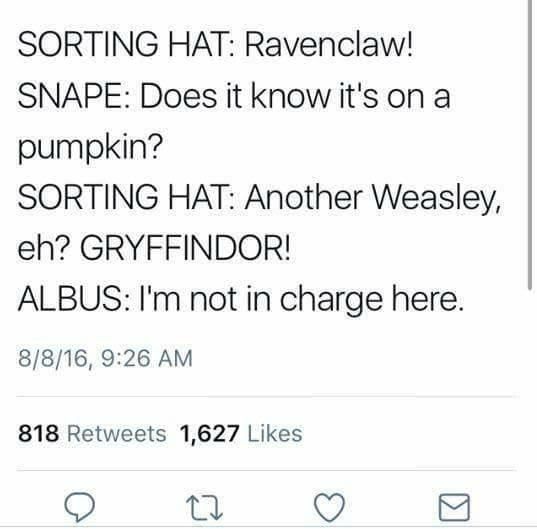 "Tweet that reads, ""Sorting hat: Ravenclaw! Snape: Does it know it's on a pumpkin? Sorting hat: Another Weasley, eh? Gryffindor! Albus: I'm not in charge here"""
