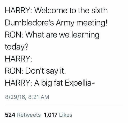 Text - HARRY: Welcome to the sixth Dumbledore's Army meeting! RON: What are we learning today? HARRY: RON: Don't say it. HARRY: A big fat Expellia- 8/29/16, 8:21 AM 524 Retweets 1,017 Likes