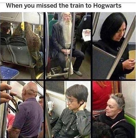 Harry Potter meme of 6 subway riders that look like characters from the movies