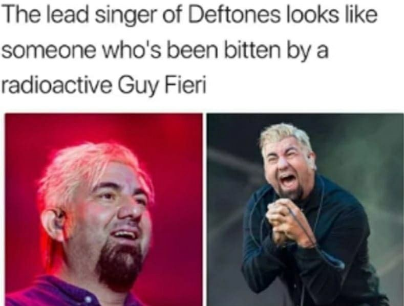 "Caption that reads, ""The lead singer of Deftones looks like someone who's been bitten by a radioactive Guy Fieri"" above pics of Chino Moreno with a similar hairstyle to Guy Fieri"
