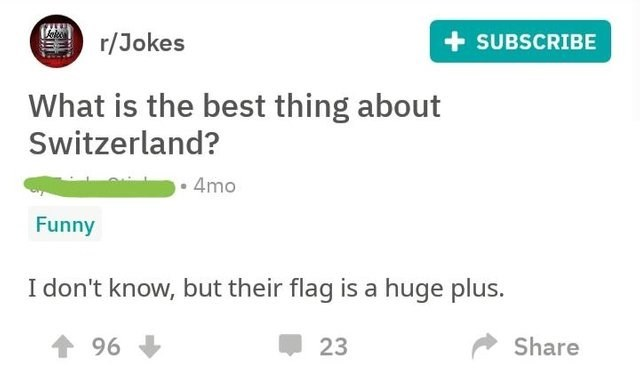 reddit What is the best thing about Switzerland? 4mo Funny I don't know, but their flag is a huge plus. 个 96 Share 23