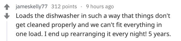post about always needing to rearrange the dishwasher from a partner