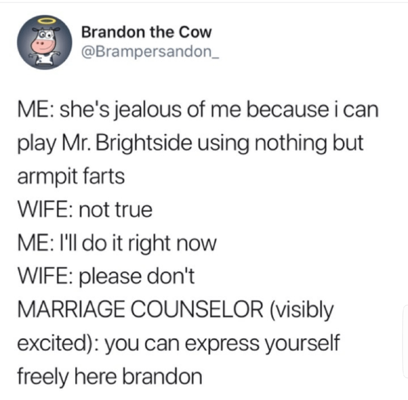 tweet post about a couple at a marriage counselor and the husband starts singing Mr. Brightside