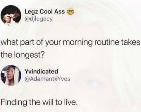 tweet post about finding the will to live is the longest part of a morning routine