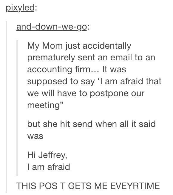 tumblr post about an accidental email that was sent