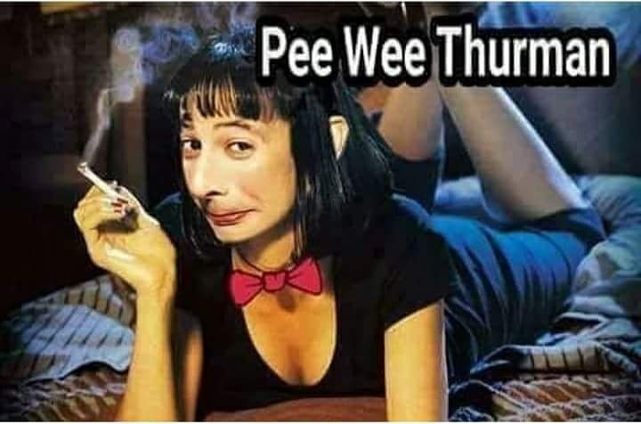 meme of uma thurman but pee wee hermans head is photo shopped onto her