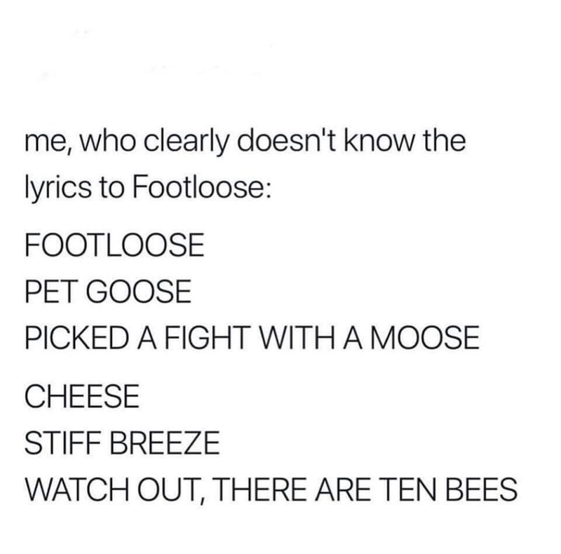 meme post about the song footloose but with funny lyrics