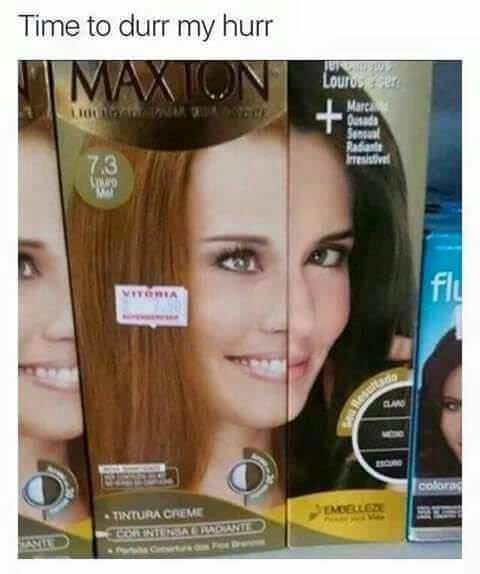 meme about dying hair and 2 different companies boxes are next to each other so the women's faces match up