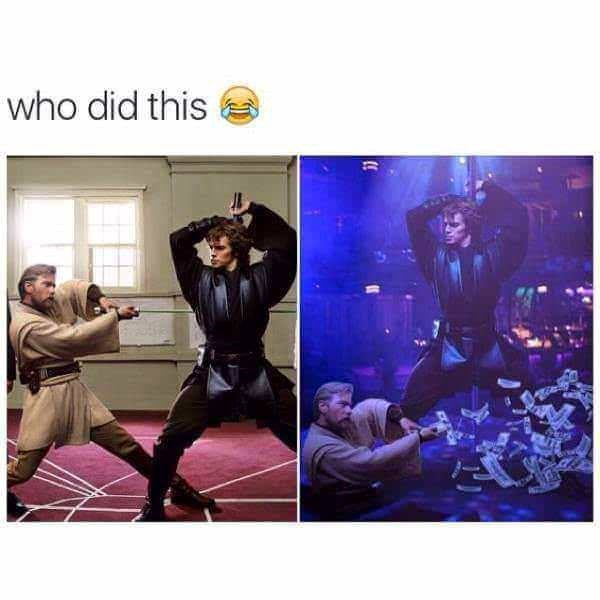 meme about star wars with their light saber and a second picture of them in the same pose but in a club