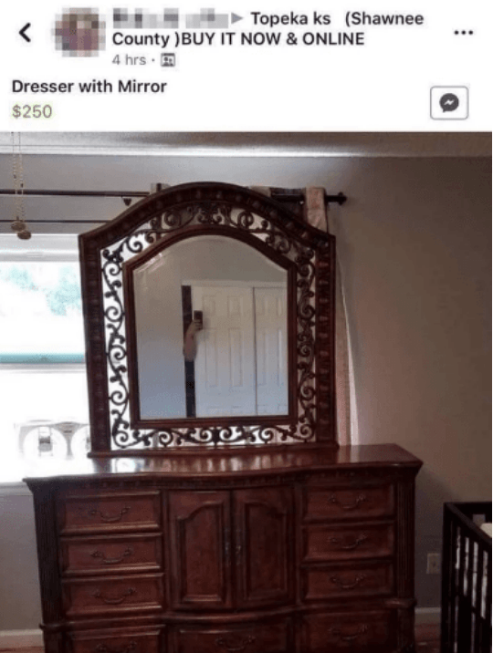 facebook post for a dresser with a mirror for sale and the seller is standing behind a door to not be seen in the photo