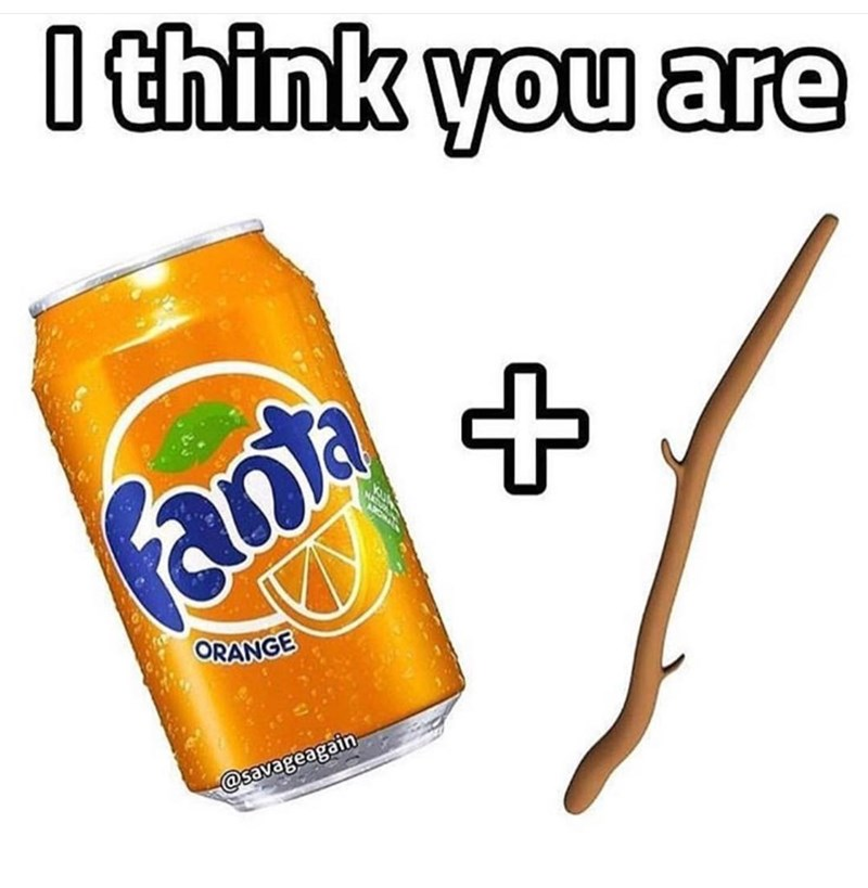 """picture of can of Fanta soda and a stick that together make up the word """"fantastic"""""""