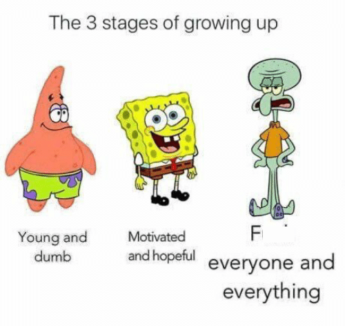 stages of growing up represented by characters from Spongebob