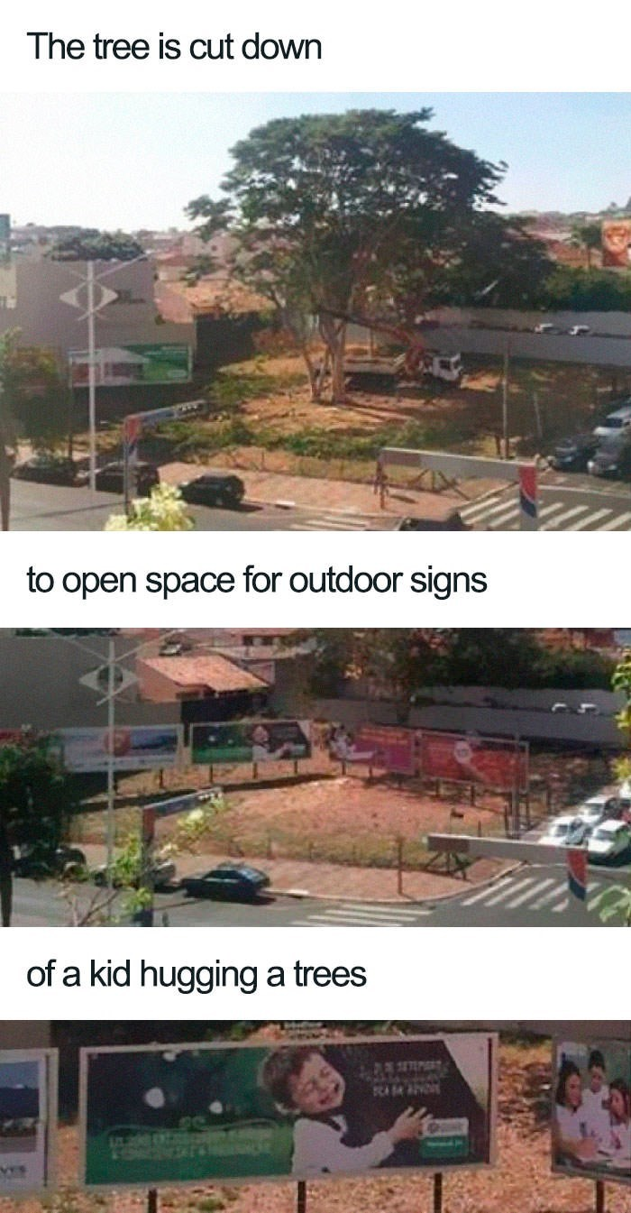 Roof - The tree is cut down to open space for outdoor signs of a kid hugging a trees