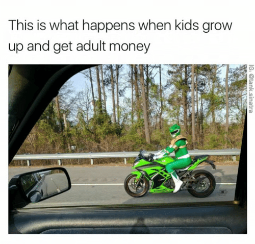 picture of person in green Power Ranger costume riding green motorcycle representing adults that use their money for childish dreams