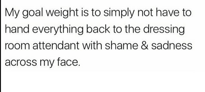 Text - My goal weight is to simply not have to hand everything back to the dressing room attendant with shame & sadness across my face.