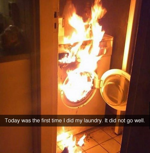 picture of first attempt of doing laundry resulting in washing machine catching fire