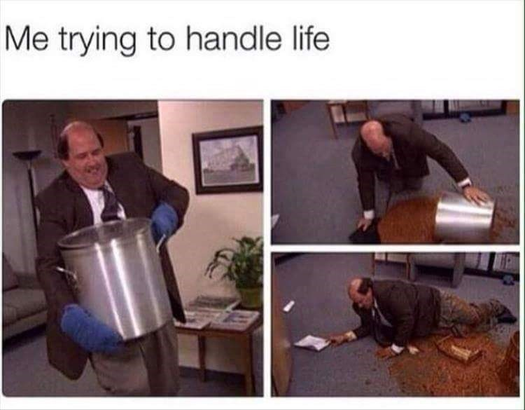 pictures of Kevin from The Office dropping a pot of beans on the ground as a representation of trying to handle life
