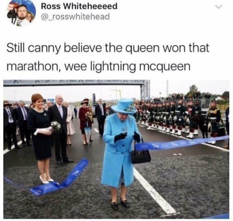 Community - Ross Whiteheeeed @rosswhitehead Still canny believe the queen won that marathon, wee lightning mcqueen