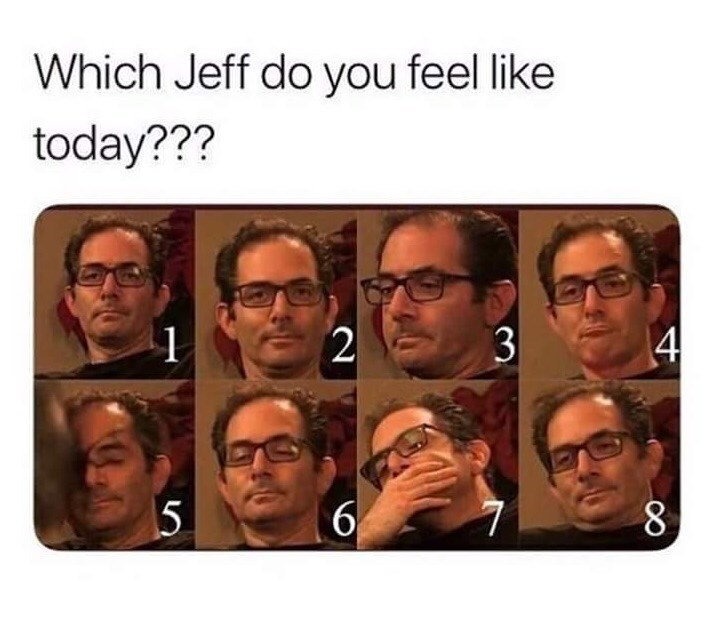 pictures of Jeff Kaplan experiencing different moods