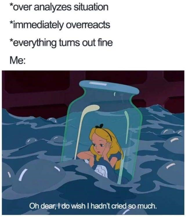 meme about regretting overreacting to a situation with picture of Alice from Alice in Wonderland