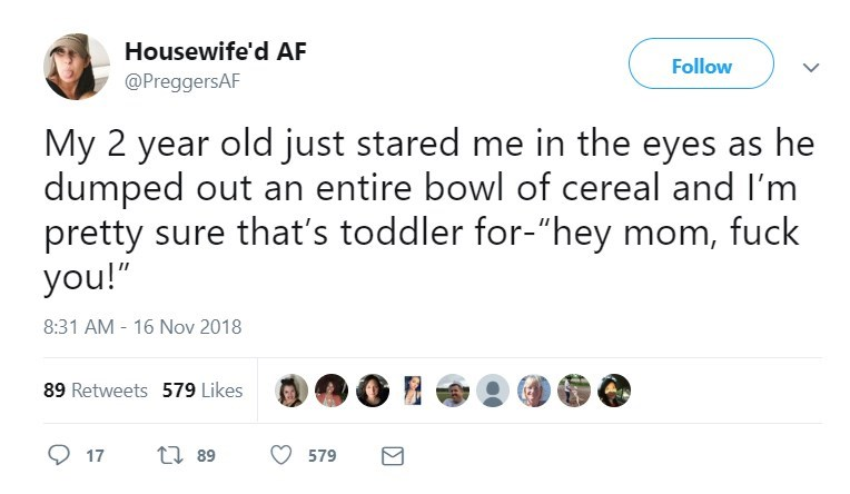"""Text - Housewife'd AF Follow @PreggersAF My 2 year old just stared me in the eyes as he dumped out an entire bowl of cereal and I'm pretty sure that's toddler for-""""hey mom, fuck you!"""" 8:31 AM - 16 Nov 2018 89 Retweets 579 Likes t 89 17 579"""