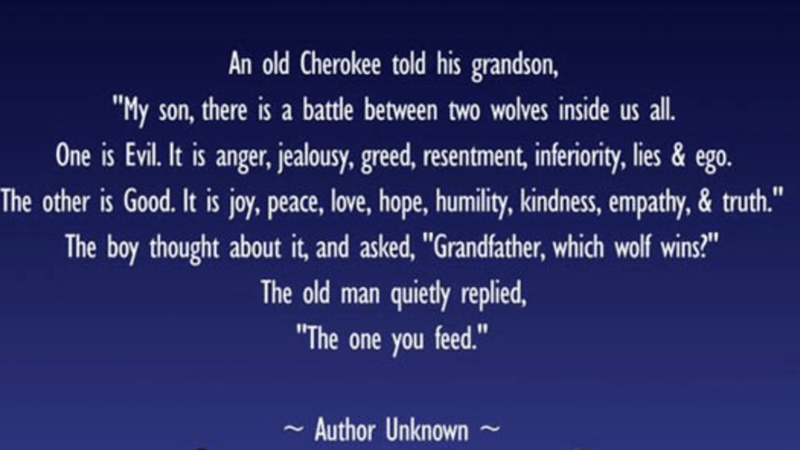 Cherokee tale about the inner battle between good and evil