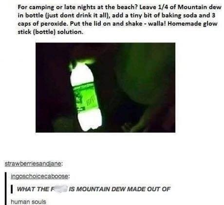 Guide that tells you how to make Mountain Dew light up at night using baking soda and peroxide