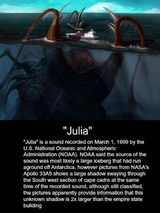 """story suggesting the existence of a gigantic underwater creature nicknamed """"Julia"""""""