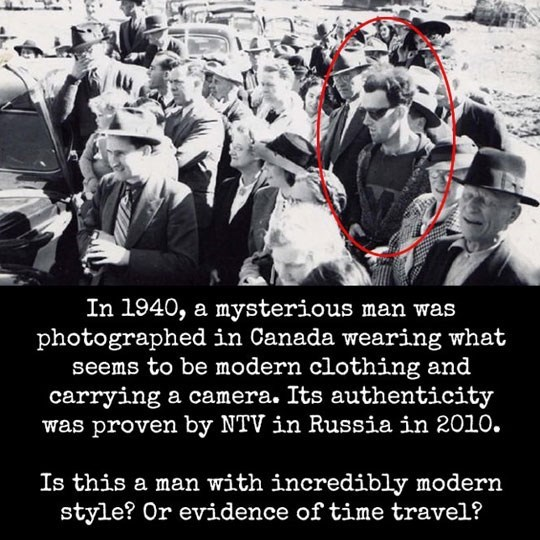man wearing sunglasses, hoodie and T-shirt in a photograph from 1940 speculated to be a time traveler