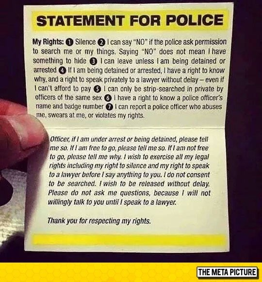 """""""statement for police"""" note that lists all your legal rights"""