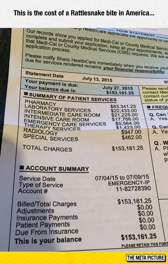 picture of ridiculously high medical bill of person bit by snake in America