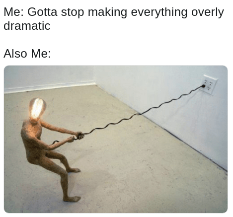MEIRL meme about not making everything overly dramatic but also being super extra dramatic on everything