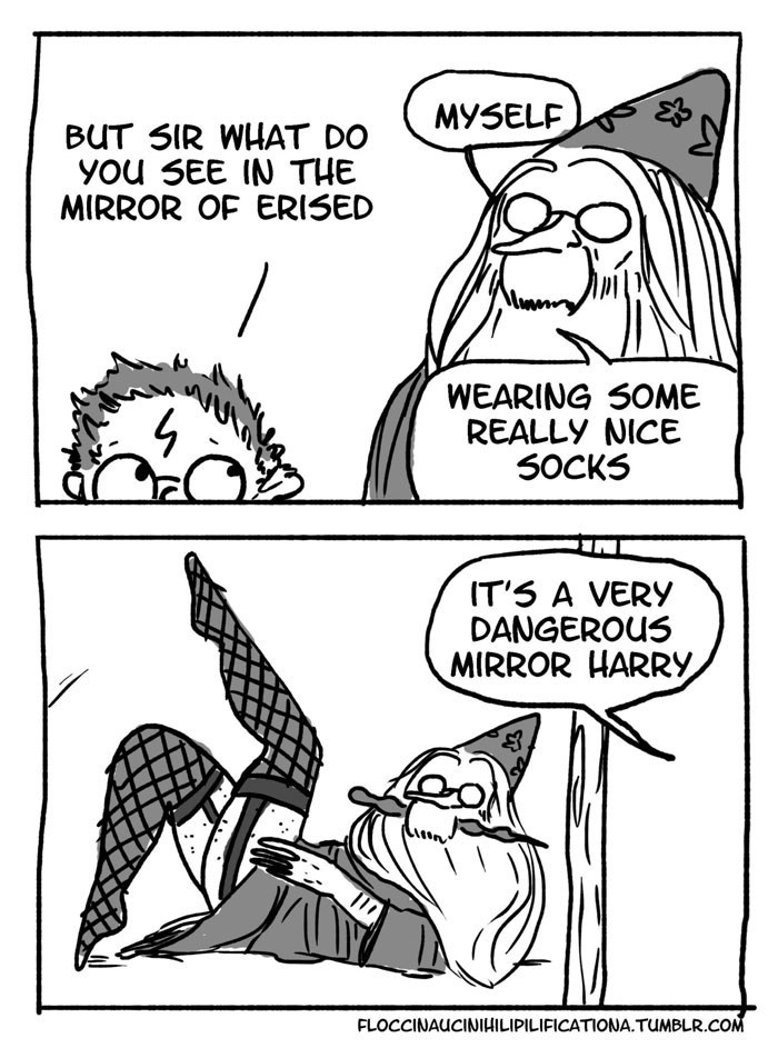 Dumbledore comic - Cartoon - MY5ELF BUT SIR WHAT DO you SEE IN THE MIRROR OF ERISED WEARING SOME REALLY NICE 50CKS IT'S A VERY DANGEROUS MIRROR HARRY FLOCCINAUCINIHILIPILIFICATIONA.TUMBLR.COM