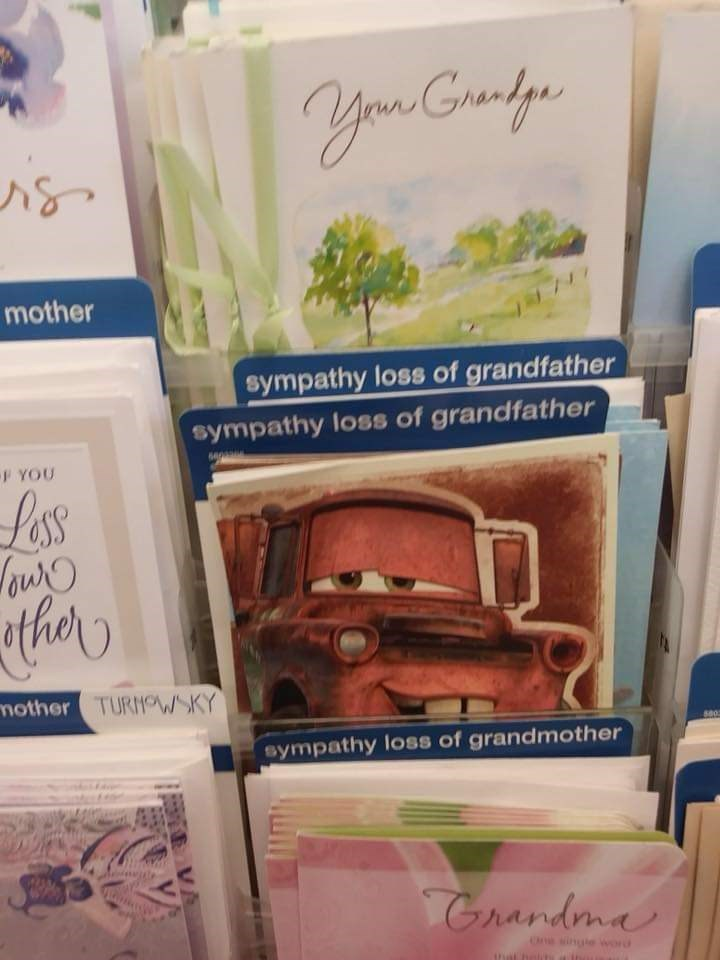 WTF image of flirty looking Mater from Cars on a condolences sympathy card