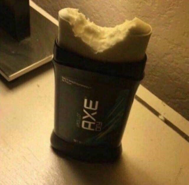 WTF image of Axe deodorant stick with a bite mark in it