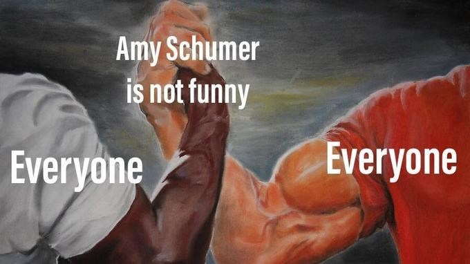 epic handshake meme about everyone agreeing Amy Schumer is not funny