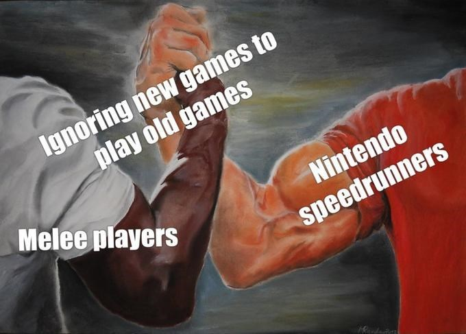 epic handshake meme about gamers who prefer old games