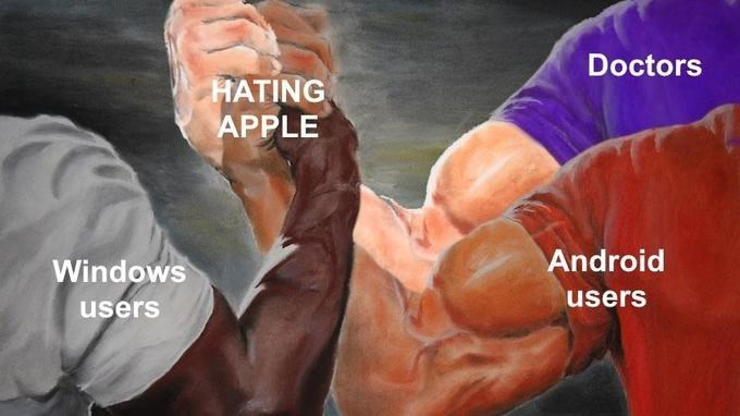 three way epic handshake meme about phone users that hate apples