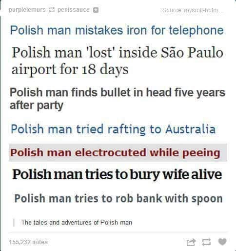Text - Source myeroft-hotm purplelemurs penissauce Polish man mistakes iron for telephone Polish man 'lost' inside São Paulo airport for 18 days Polish man finds bullet in head five years after party Polish man tried rafting to Australia Polish man electrocuted while peeing Polish man tries to bury wife alive Polish man tries to rob bank with spoon The tales and adventures of Polish man 155,232 notes