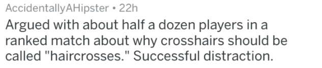 """Text - AccidentallyAHipster 22h Argued with about half a dozen players in a ranked match about why crosshairs should be called """"haircrosses."""" Successful distraction"""
