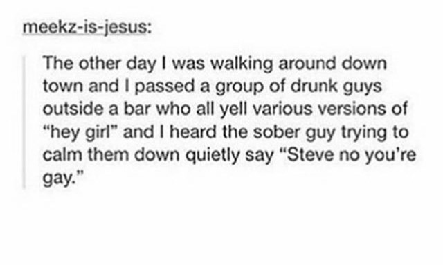 """Text - meekz-is-jesus: The other day I was walking around down town and I passed a group of drunk guys outside a bar who all yell various versions of """"hey girl"""" and heard the sober guy trying to calm them down quietly say """"Steve no you're gay."""""""