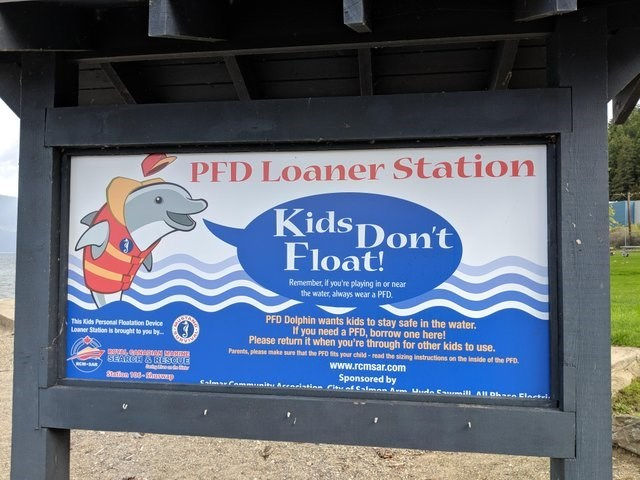 Advertising - PFD Loaner Station KidsDon't Float! Remember, if you're playing in or near the water, always wear a PFD PFD Dolphin wants kids to stay safe in the water. If you need a PFD, borrow one here! Please return it when you're through for other kids to use. Pares please make surs that the PFO its your child-read the sizing instructions on the inside of the PFD www.rcmsar.com Sponsored by CalmPa Arenlatinn rial Csl A Uda C i AR O Elactel This Kids Personal Floatation Device Loaner Station i