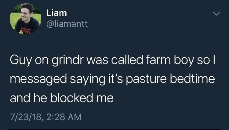 """tweet about making pun by telling farmer it's """"past his bedtime"""""""