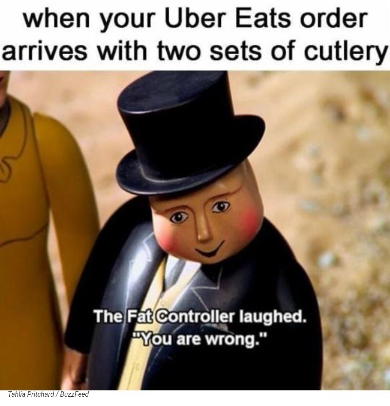 meme about being fat and ordering enough food for two people but eating it all yourself