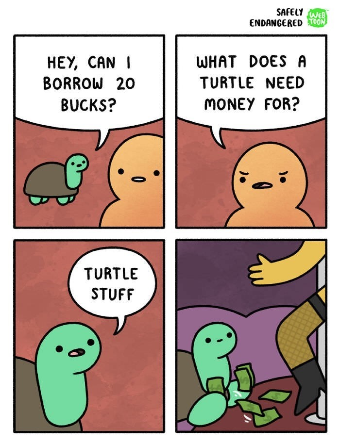 comic about turtle borrowing money to go to strip club