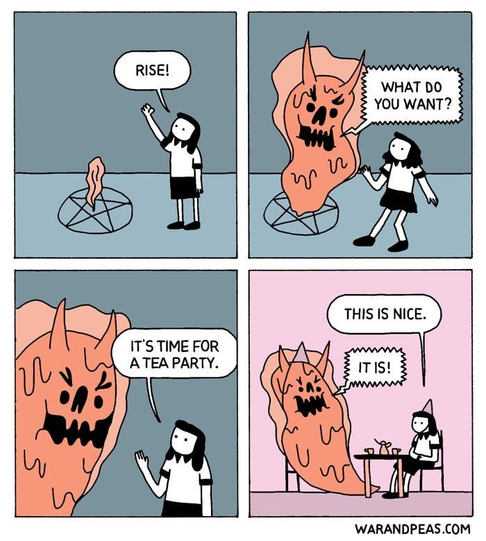 comic about summoning demon to invite it to a tea party