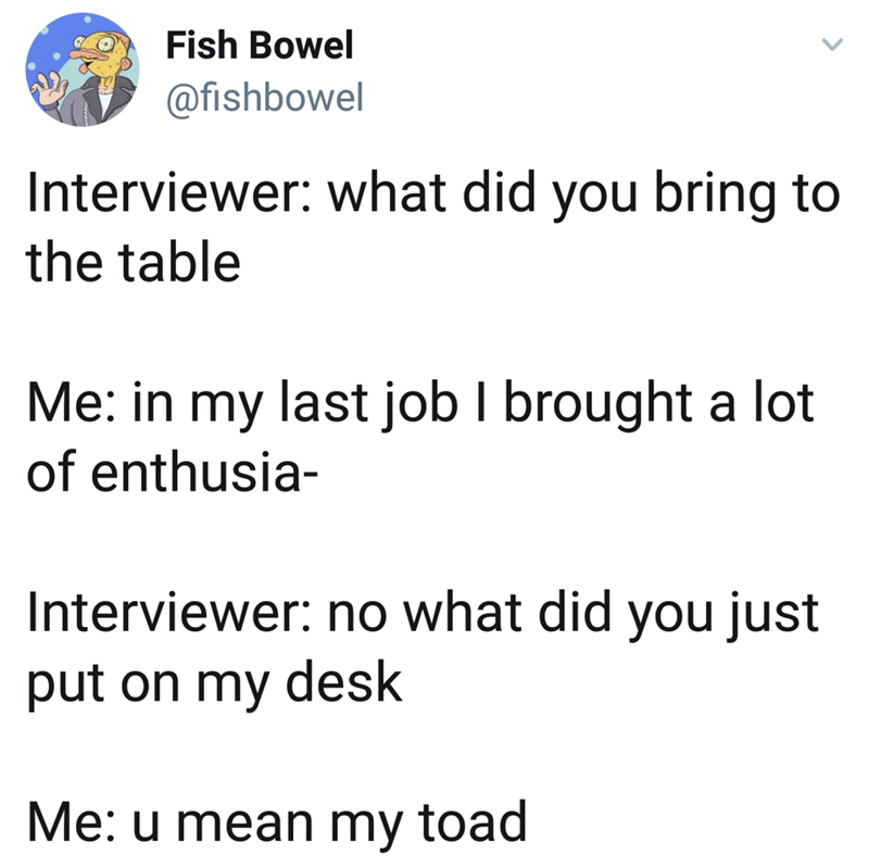 meme - Text - Fish Bowel @fishbowel Interviewer: what did you bring to the table Me: in my last job I brought a lot of enthusia- Interviewer: no what did you just put on my desk Me: u mean my toad