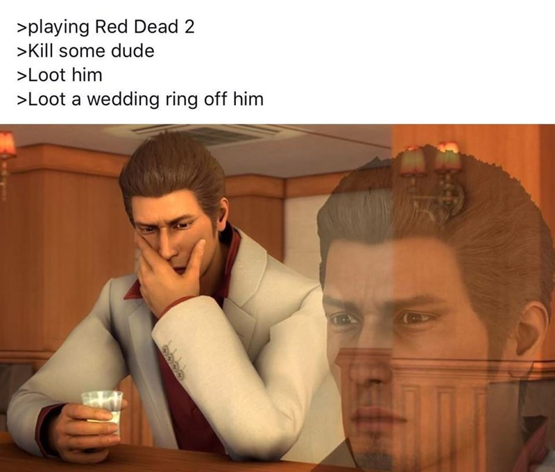 RDR2 meme about killing character in game and feeling guilty when you find their wedding ring