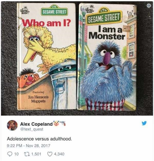 Sesame Street books as the progression of your psyche as you grow up